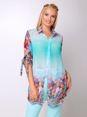 Блуза блакитна з квітковим принтом | 5104788