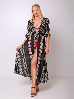 Платье-туника черное с принтом | 5104800