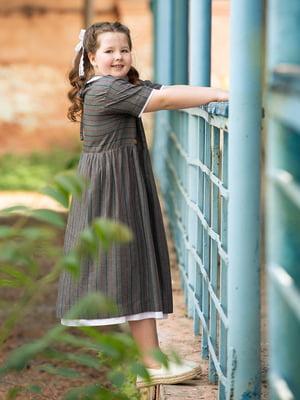 Платье серое в полоску | 5104912