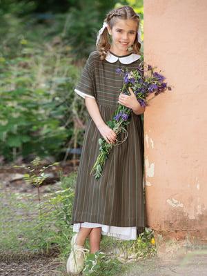 Платье оливкового цвета в полоску | 5104913