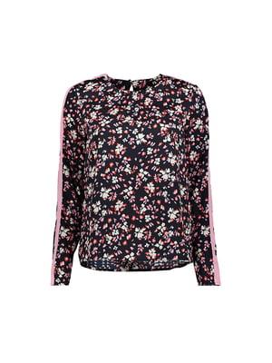 Блуза черная в цветочный принт | 4970161