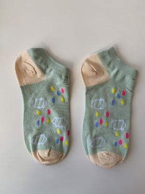 Шкарпетки блакитні в принт | 5106954