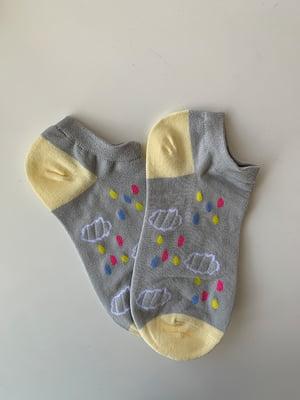 Шкарпетки блакитно-сірі в принт | 5106956