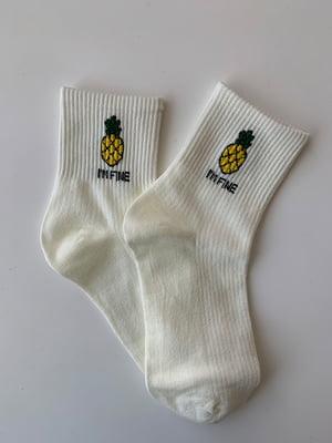Носки белые с принтом | 5107004