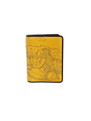 Обкладинка для паспорта жовта з принтом | 5109233
