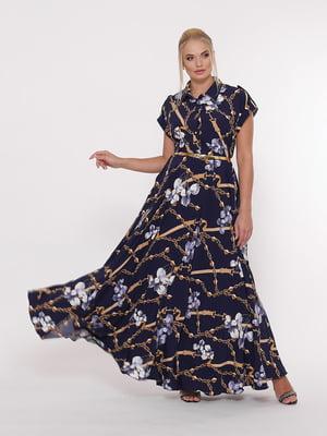 Сукня синя з квітковим принтом | 5108916