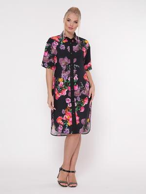 Платье черное с цветочным принтом | 5108930