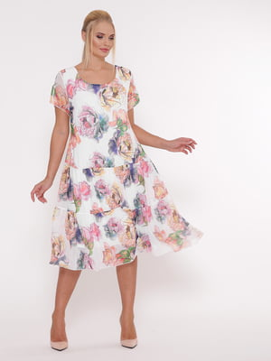 Платье белое в цветочный принт | 5108938