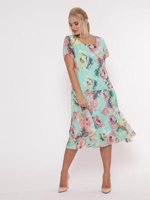 Сукня ментолового кольору в квітковий принт | 5108940