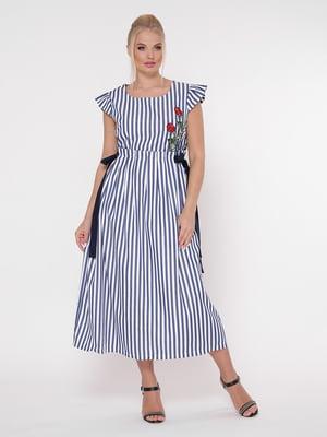 Сукня в смужку з вишивкою | 5108965