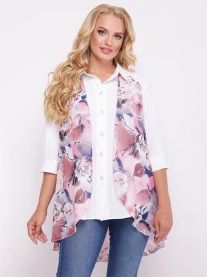 Рубашка белая с цветочным принтом | 5109000