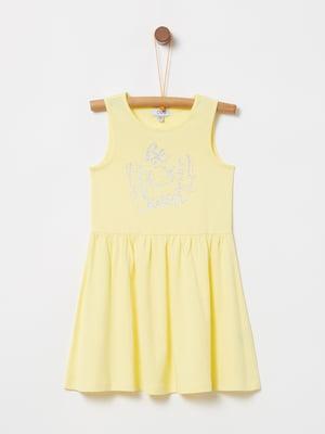 Сукня жовта з принтом | 5075223