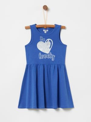 Сукня синя з принтом | 5075225