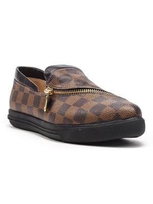 Туфлі коричневі в шаховий принт | 4648894