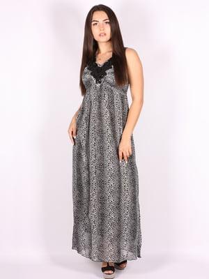 Платье серое в принт | 5110938