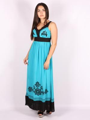 Платье бирюзовое с принтом | 5110951