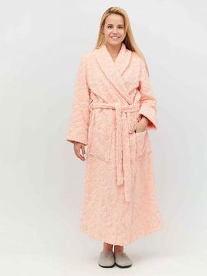 Халат персикового цвета махровый | 4653883