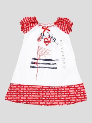 Платье бело-красное с принтом | 5109155
