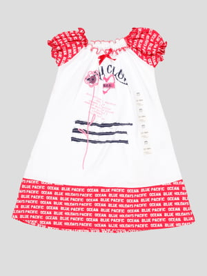 Платье бело-розовое с принтом | 5109156
