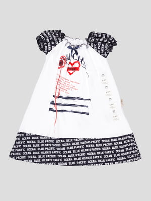 Сукня біло-синя з принтом | 5109157