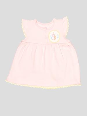 Боді-сукня рожева з аплікацією | 5109153