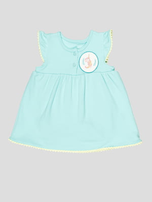 Боді-сукня м'ятного кольору з аплікацією | 5109154