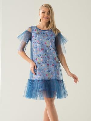 Платье голубое в принт   4973666