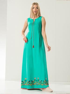 Сукня бірюзова з малюнком | 4973673