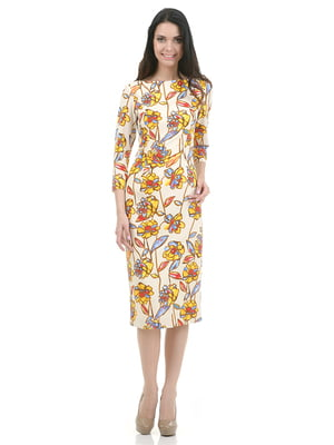 Платье белое в цветочный принт | 4973715