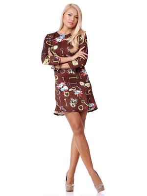Платье коричневое в принт   4973730