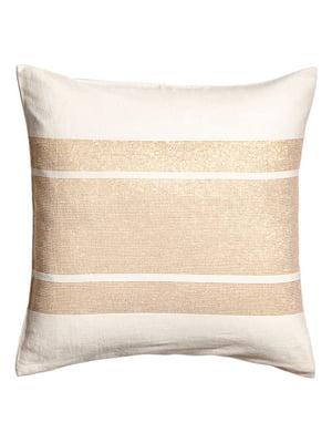Чохол на подушку біло-бежевий | 5107583