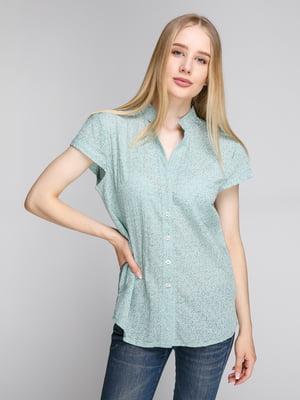 Блуза ментолового цвета в цветочный принт | 5094349