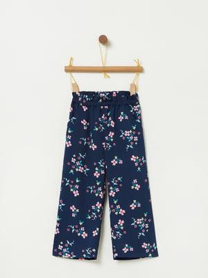 Брюки синие в цветочный принт | 5091441