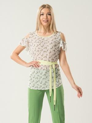 Блуза молочного цвета в принт   5114051