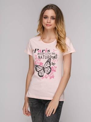 Футболка розовая с принтом | 5111148