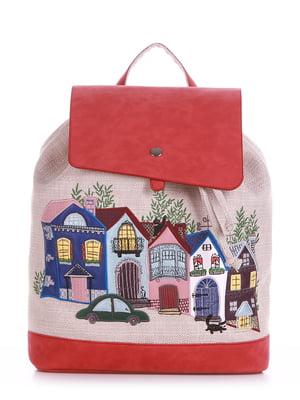 Рюкзак бежево-красный - Alba Soboni - 5115024