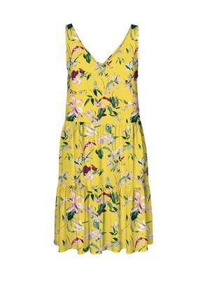 Сукня жовта з квітковим принтом | 5087762