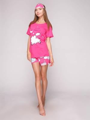 Пижама: футболка, шорты и маска для сна | 5106145