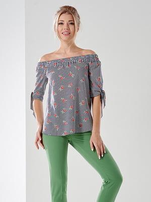 Блуза в полоску и цветочный принт | 5114041