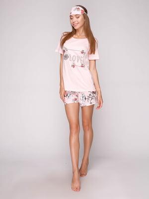 Пижама: футболка, шорты и маска для сна | 5106143
