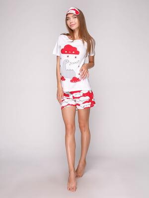 Пижама: футболка, шорты и маска для сна | 5106144