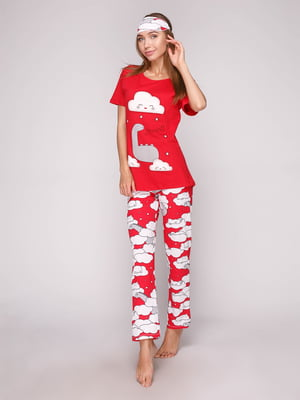 Пижама: футболка, брюки и маска для сна | 5106141