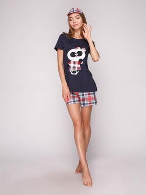 Пижама: футболка, шорты и маска для сна | 5106147