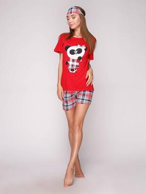 Пижама: футболка, шорты и маска для сна | 5106146