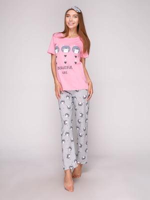 Пижама: футболка, брюки и маска для сна | 5106149