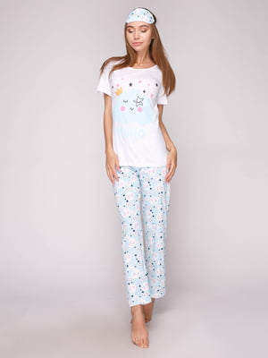 Пижама: футболка, брюки и маска для сна | 5106148