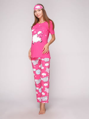 Пижама: футболка, брюки и маска для сна | 5106140