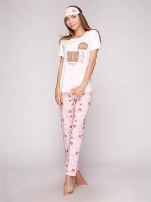 Пижама: футболка, брюки и маска для сна | 5106138