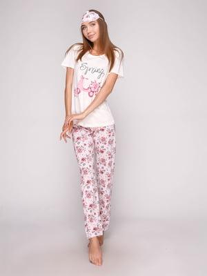 Пижама: футболка, брюки и маска для сна | 5106139