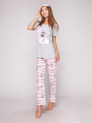 Пижама: футболка, брюки и маска для сна | 5106154